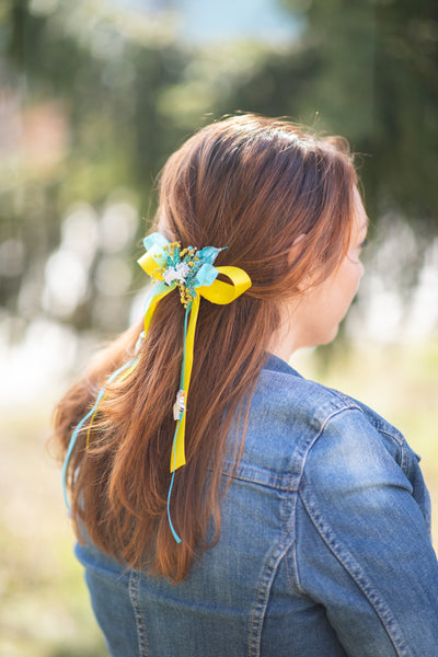 Yellow and blue hair bow with Unicorn Back to school Unicorn fantasy wedding Hair Ribbon bow Magaela Hair flowers Ponytail barrette clip