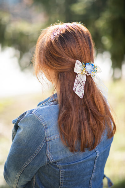 Flower hair bow Yellow and blue lace ribbon hair bow Barrette hair clip Bridal hair clip with bow Ponytail hair clip Back to school Magaela