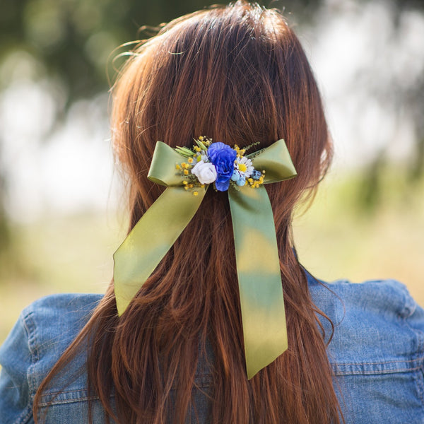 Meadow green and blue hair bow Bridal flower hair clip Barrette hair clip with ribbon Wedding 2021 Handmade Magaela Folklore Back to school
