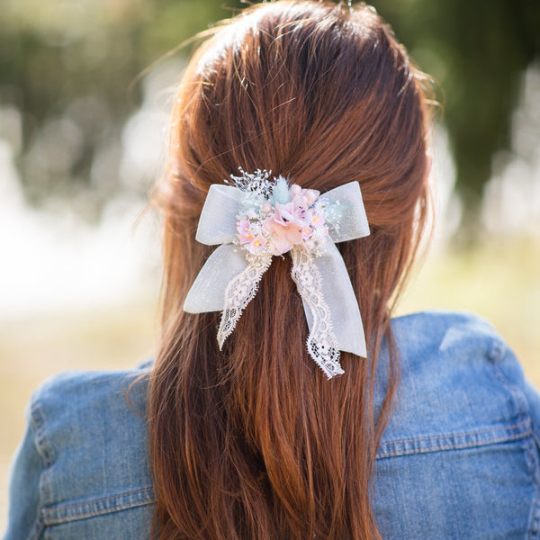 Pastel flower hair bow Bridal barrette clip Customisable Mint blush ponytail clip Romantic wedding Back to school Clip for girl Gift for her