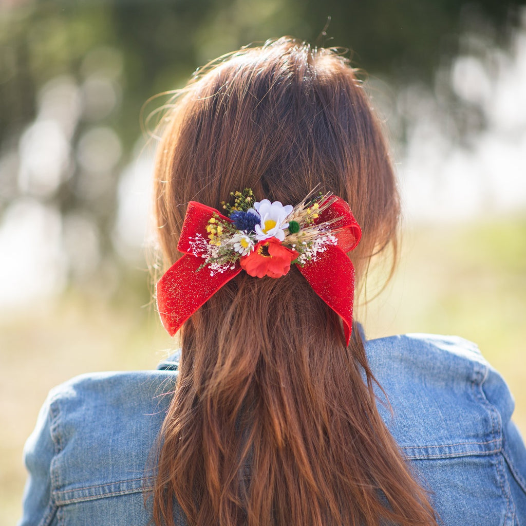 Folk flower hair bow Barrette clip with red ribbon Poppy ponytail clip Folk wedding style barrette clip Back to school hair bow Magaela