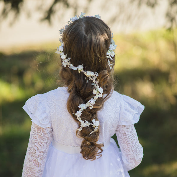 First Communion Hair Garland, Bendable White Flower Hair Vine for Girl, Shapeable Handmade Flower Crown, Magaela Accessories, Customisable