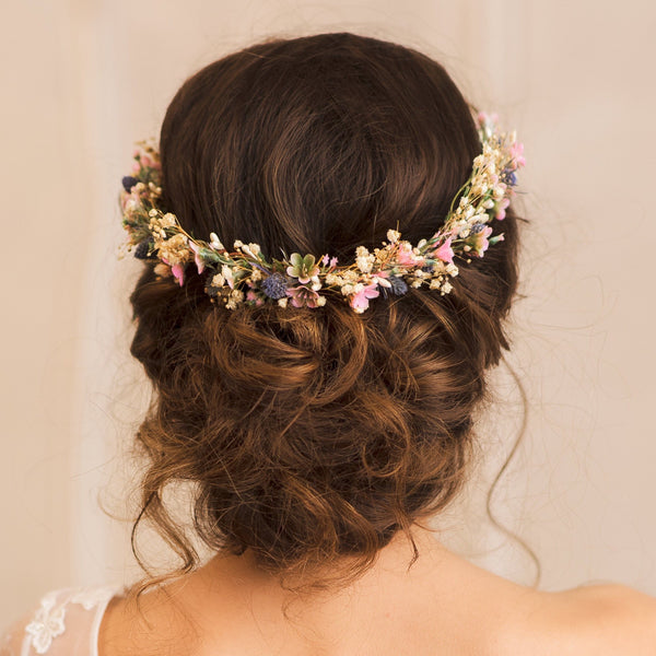 Flower half wreath with mini thistles Meadow wedding wreath Handmade wedding wreath Magaela Custom made Hair flowers Modern flower headpiece