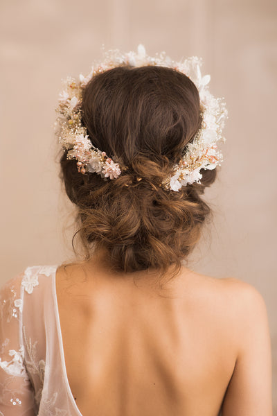 Ivory bridal wreath 2021 wedding Hair tiara Pastel hair crown Magaela accessories Handmade hochzeit wreath Romantic Bride Cream flower crown