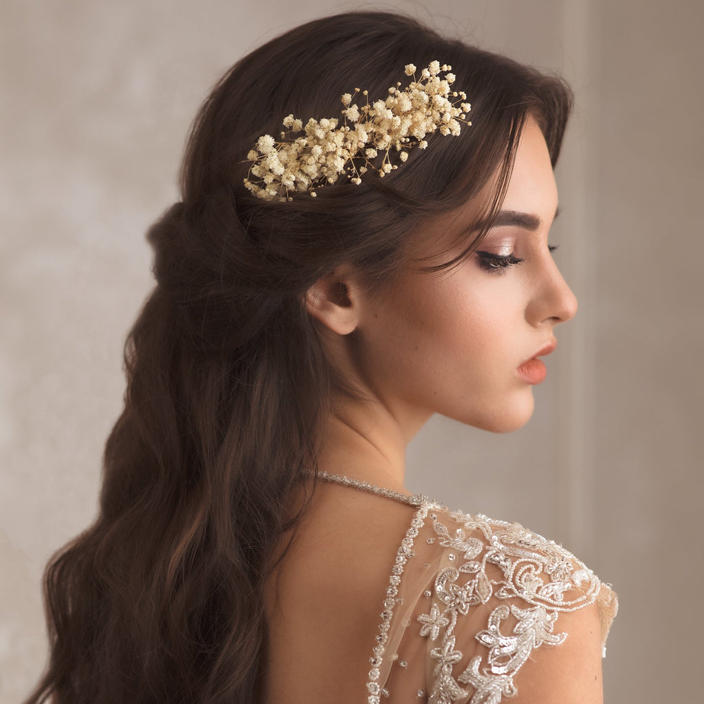 Ivory baby's breath wedding flower comb Beige bridal hair comb Decorative baby's breath comb Flower accessories Magaela Preserved flowers