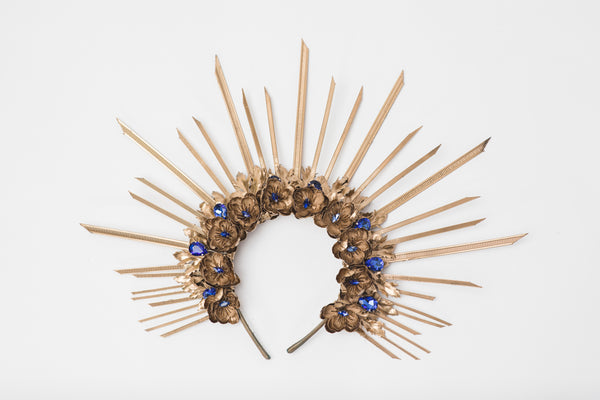 Met gala crown Halo crown with blue accents Golden flower crown with spikes Sun ray Beyonce crown Bridal Headpiece Bridal headband Magaela
