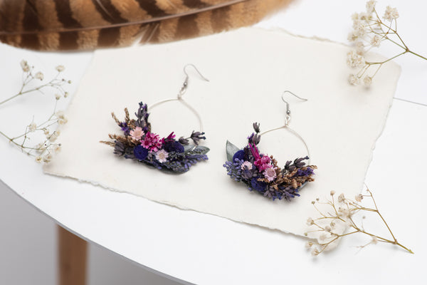 Purple circle dangle earrings Flower earrings Surgical steel flower earrings for bride Dried flowers Magaela Lavender handmade Violet