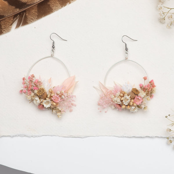 Romantic circle dangle earrings Vintage flower earrings Surgical steel Blush pink flower earrings for bride Dried flowers Magaela handmade