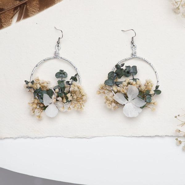Baby's breath circle dangle earrings Natural Flower earrings Surgical steel flower earrings for bride Dried flowers Magaela handmade