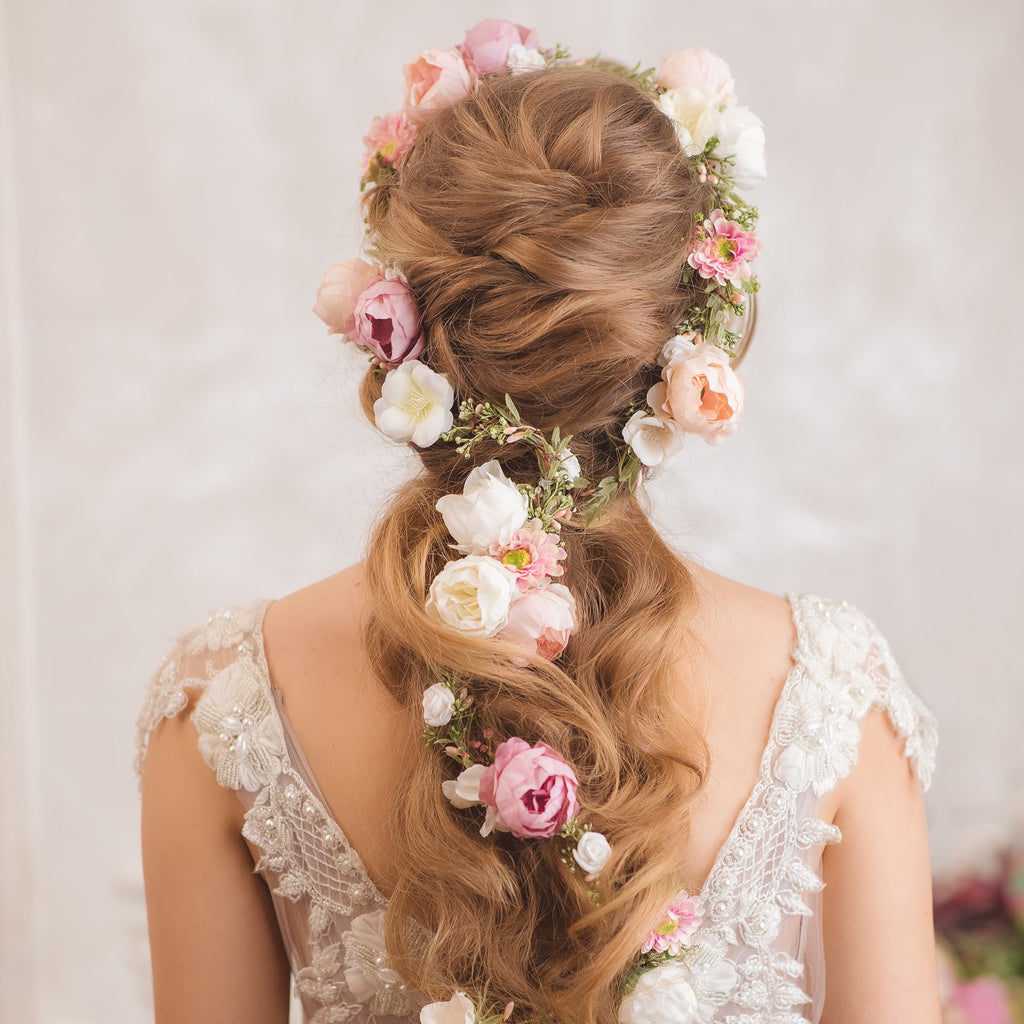 Romantic peony wedding hair garland 2021 Ivory pink peach flower headpiece Shapeable bridal flower garland Flexible Bendable wreath Magaela