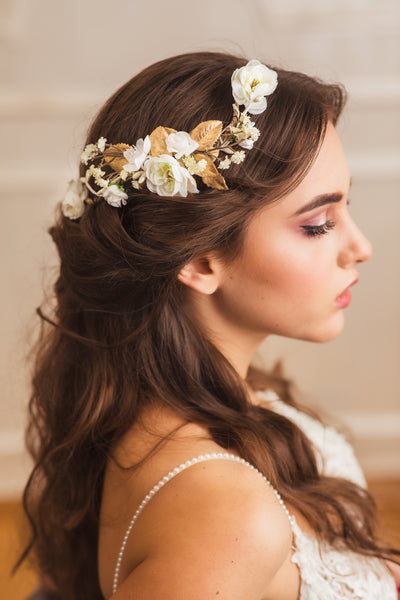 White bridal vine Shapable hair comb Bridal accessories Ivory flower comb Wedding hair comb Gold flexible hair vine Bendable bridal heapiece