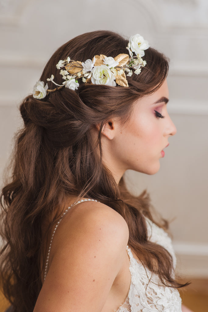 Ivory and white preserved flower hair comb
