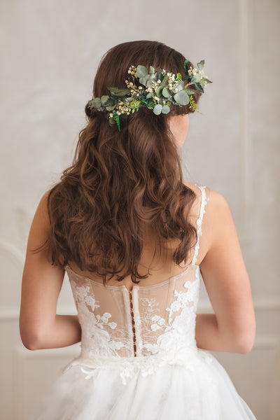 Greenery bendable bridal vine with baby's breath Bridal accessories Eucalyptus flower comb Wedding hair comb Flexible Shapable hair vine