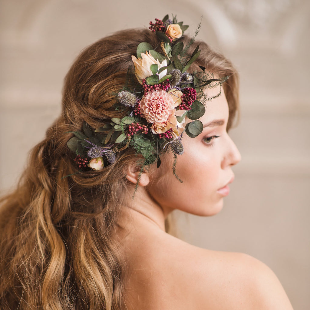 Shapable bridal vine with thistles Hair flowers Romantic bridal accessories Wedding hair comb Flexible hair vine Bendable wedding headpiece