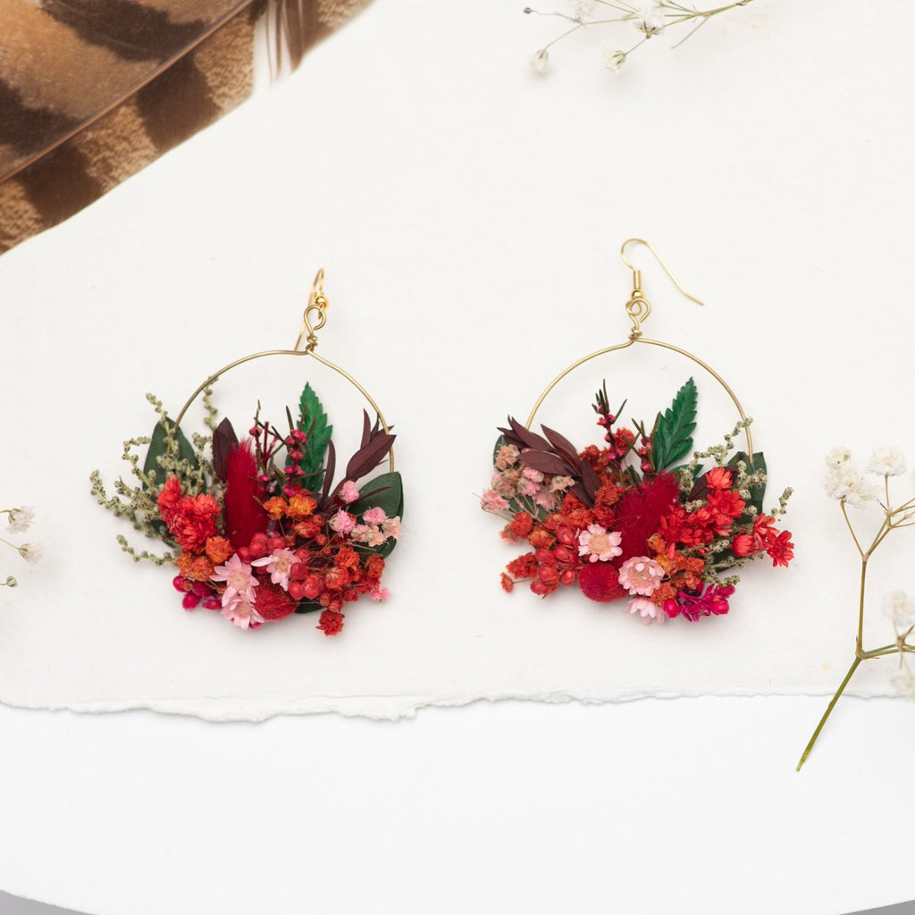 Red circle dangle earrings Surgical steel red flower earrings for bride Dried flowers Magaela handmade