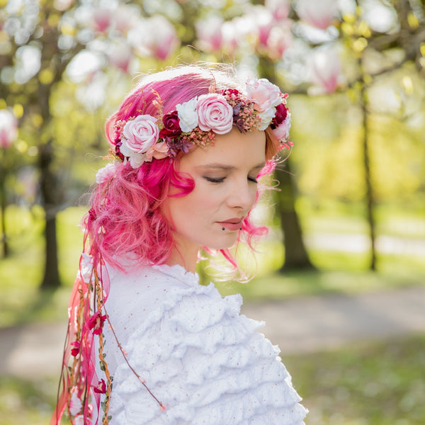 Romantic boho flower wreath Bridal pink crown with ribbons Hair wreath with veil Wedding 2021 Blush roses crown Magaela accessories