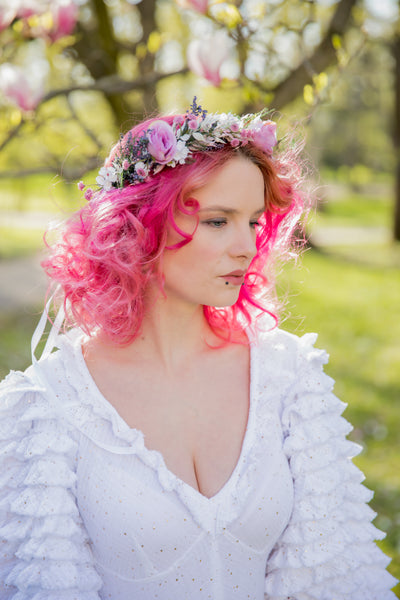 Romantic pink flower hair crown Bridal flower wreath Blush rose Hair flowers Bridal headpiece Boho wreath Magaela Wedding 2021 natural crown