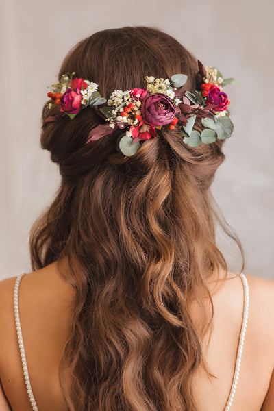 Shapeable red and green bridal hair vine Hair flowers for bride Bridal accessories Flexible Shapable hair vine Bendable eucalyptus hair vine