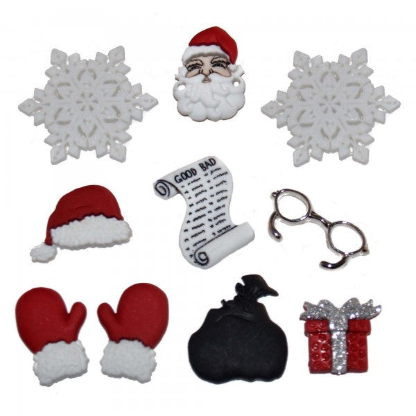 Embellishments - Dress It Up Buttons - Waiting for Santa - Fabridasher