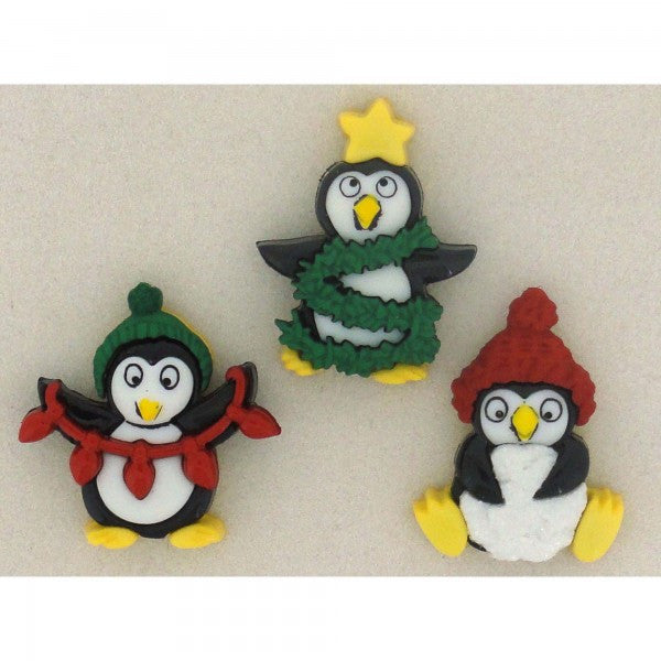 Embellishments - Dress It Up Buttons - Holiday Penguins - Fabridasher
