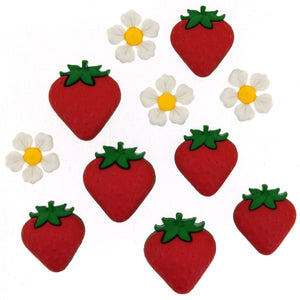 Embellishments - Dress It Up Buttons - Fresh Strawberries - Fabridasher