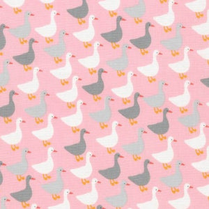 cotton - Robert Kaufman Urban Zoologie Minis: Geese on Pink - Fabridasher