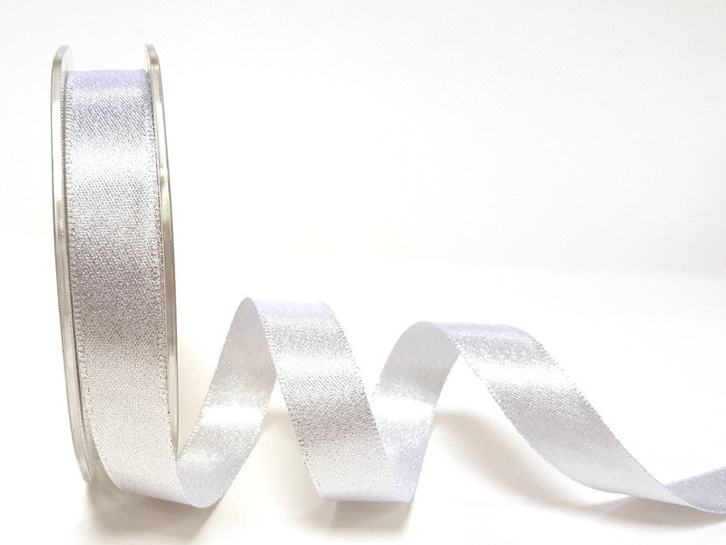ribbon - 15mm sparkle satin ribbon - bright silver - Fabridasher