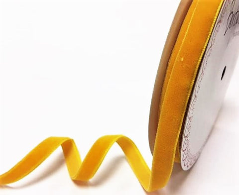 ribbon - 10mm velvet ribbon - yellow - Fabridasher