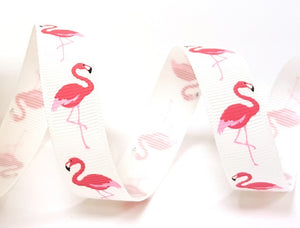 ribbon - 16mm Flamingo Print Grosgrain Ribbon - Fabridasher