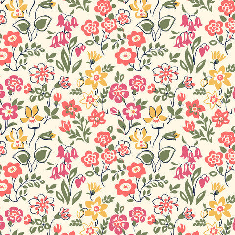 Liberty Fabrics - The Cottage Garden - Lawn Games Red
