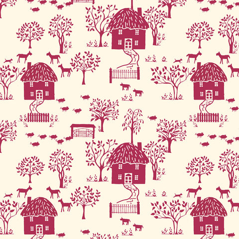 Liberty Fabrics - The Cottage Garden - Cottage Lane Red