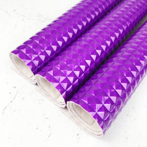 Textured Faux Leather - Squares - Purple - Fabridasher