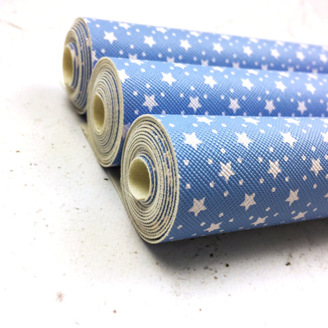 Print Faux Leather - Baby blue - Polka Stars - Print Faux Leather - Fabridasher