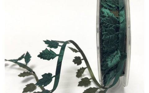 ribbon - 25mm Satin Cut-Out Leaf Fringe - Forest - Fabridasher