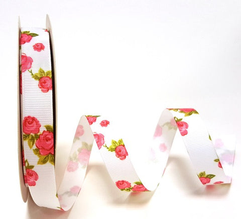 ribbon - 16mm Floral Grosgrain - Rose White - Fabridasher