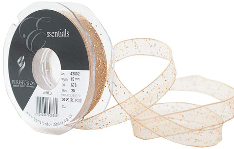 ribbon - 15mm Honey Gold Sheer with Gold Glitter Wired Ribbon - Fabridasher