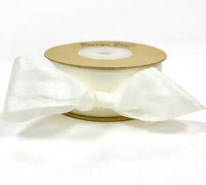 ribbon - 25mm 100% natural silk ribbon - white - Fabridasher