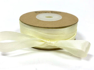 ribbon - 13mm 100% natural silk ribbon - ivory - Fabridasher