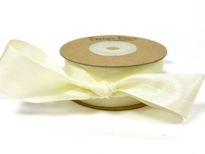 ribbon - 25mm 100% natural silk ribbon - ivory - Fabridasher