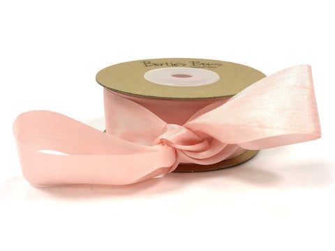 ribbon - 25mm 100% natural silk ribbon - pink - Fabridasher