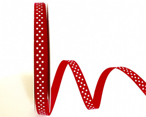 ribbon - 9mm Red Grosgrain Ribbon with White Polka Dots - Fabridasher
