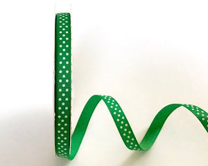 ribbon - 9mm Emerald Grosgrain Ribbon with White Polka Dots - Fabridasher
