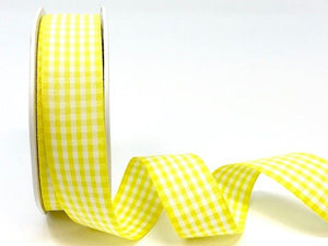 Lemon Gingham Plaid Ribbon