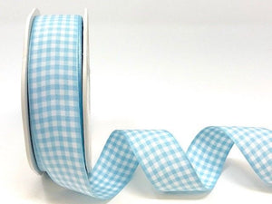 ribbon - Baby Blue Gingham Plaid Ribbon - Fabridasher