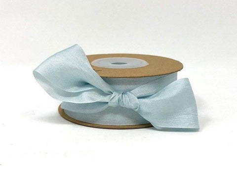 ribbon - 25mm 100% natural silk ribbon - sky blue - Fabridasher