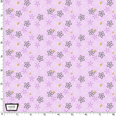 Michael Miller - Believe - Glitter Daisy - Lavender with gold metallic