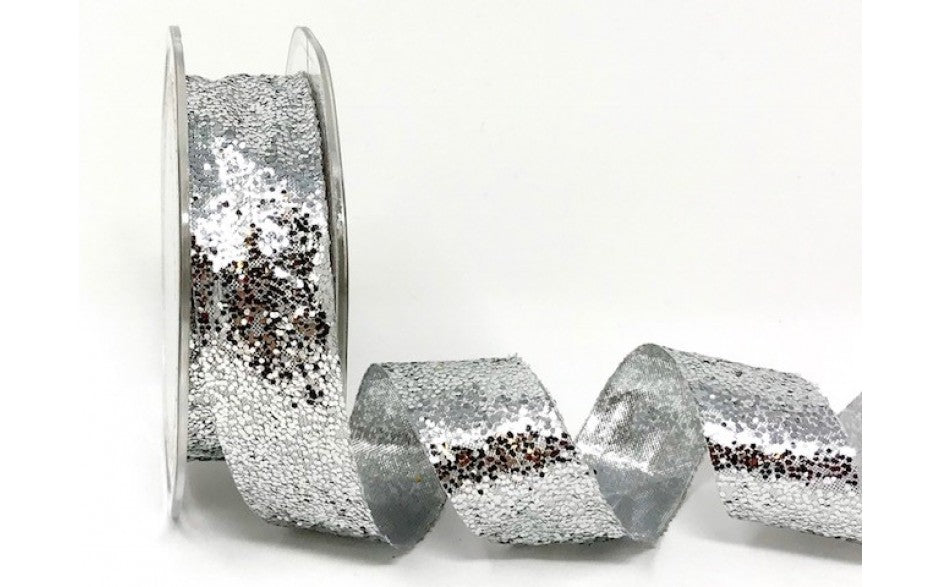 ribbon - 25mm Sparkle Glitter - Silver - Fabridasher
