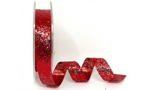 ribbon - 15mm Sparkle Glitter - Red - Fabridasher