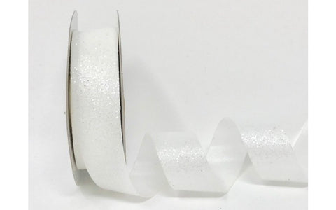 ribbon - 25mm Crystal Glitter - White - Fabridasher