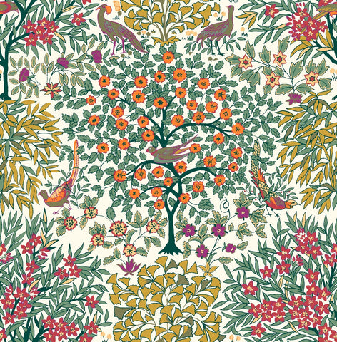 Liberty Fabrics - Orchard Garden - Pheasant Forest - Coral